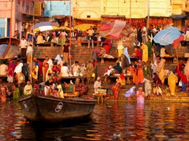 The bathing ghats at Varanasi, the holiest city in Hinduism