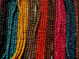 Beads for sale at a sidewalk vendor in Varanas