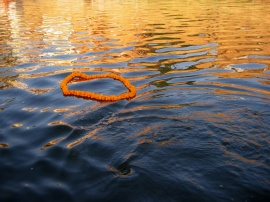 A marigold wreath floats in the waters of the holy Ganges in Varanasi