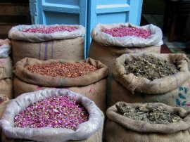 Dried rose petals and other fragrant herbs for sale in the wholesale markets of Old Delhi