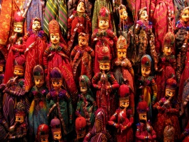Marionettes -- hanging puppets made by Rajasthani craftsmen