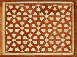 A sandstone-and-marble inlay